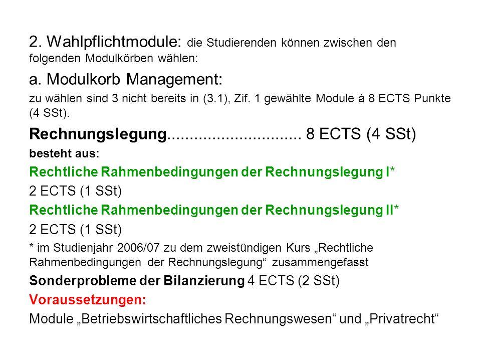 2. Wahlpflichtmodule: die Studierenden können zwischen den folgenden Modulkörben wählen: a. Modulkorb Management: zu wählen sind 3 nicht bereits in (3