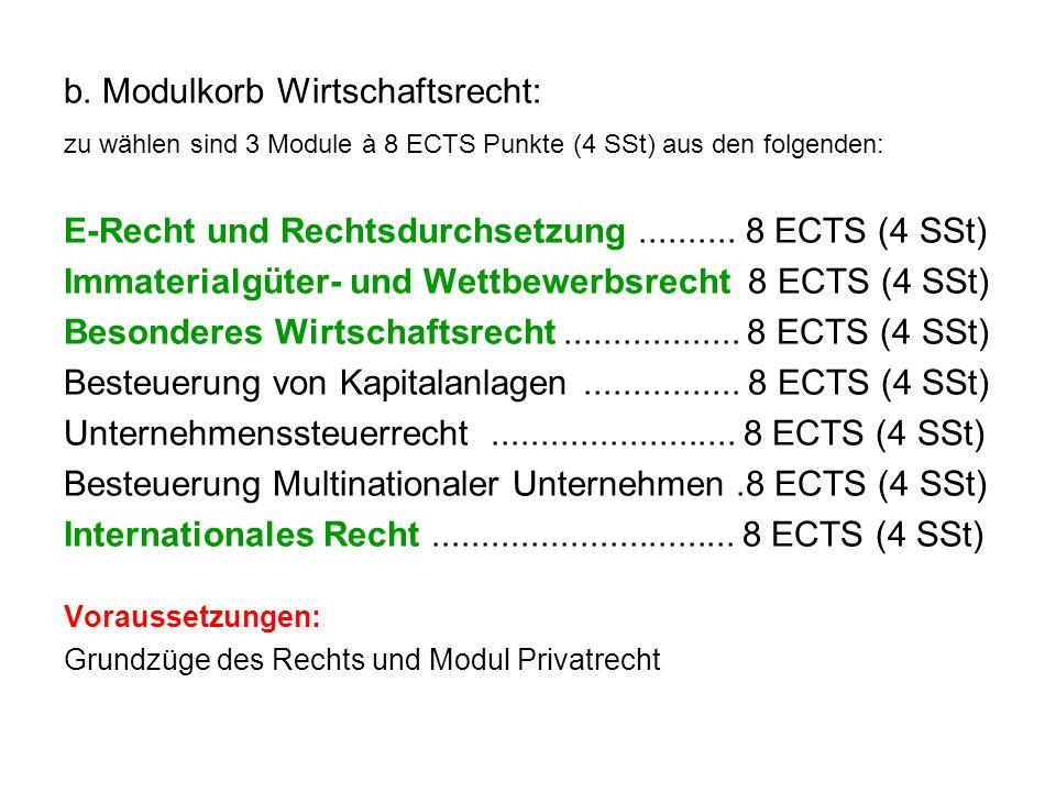 b. Modulkorb Wirtschaftsrecht: zu wählen sind 3 Module à 8 ECTS Punkte (4 SSt) aus den folgenden: E-Recht und Rechtsdurchsetzung.......... 8 ECTS (4 S