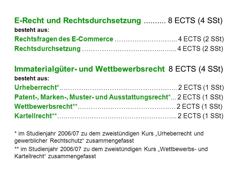 E-Recht und Rechtsdurchsetzung.......... 8 ECTS (4 SSt) besteht aus: Rechtsfragen des E-Commerce …………..…………... 4 ECTS (2 SSt) Rechtsdurchsetzung ……………