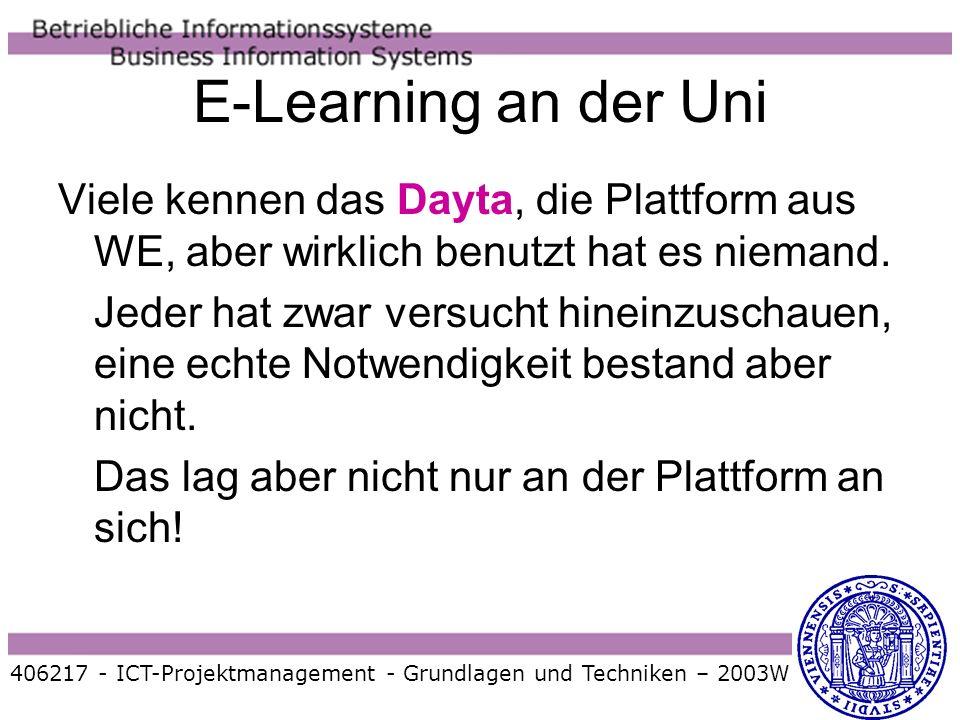 Viele kennen das Dayta, die Plattform aus WE, aber wirklich benutzt hat es niemand. Jeder hat zwar versucht hineinzuschauen, eine echte Notwendigkeit