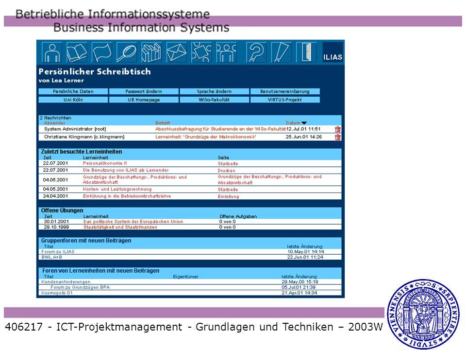 406217 - ICT-Projektmanagement - Grundlagen und Techniken – 2003W