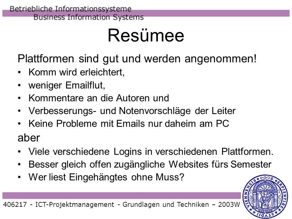 406217 - ICT-Projektmanagement - Grundlagen und Techniken – 2003W Resümee Plattformen sind gut und werden angenommen! Komm wird erleichtert, weniger E