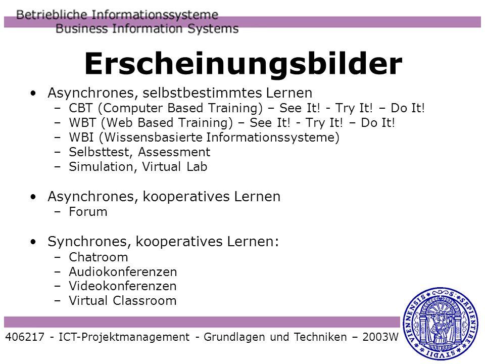Erscheinungsbilder 406217 - ICT-Projektmanagement - Grundlagen und Techniken – 2003W Asynchrones, selbstbestimmtes Lernen –CBT (Computer Based Trainin