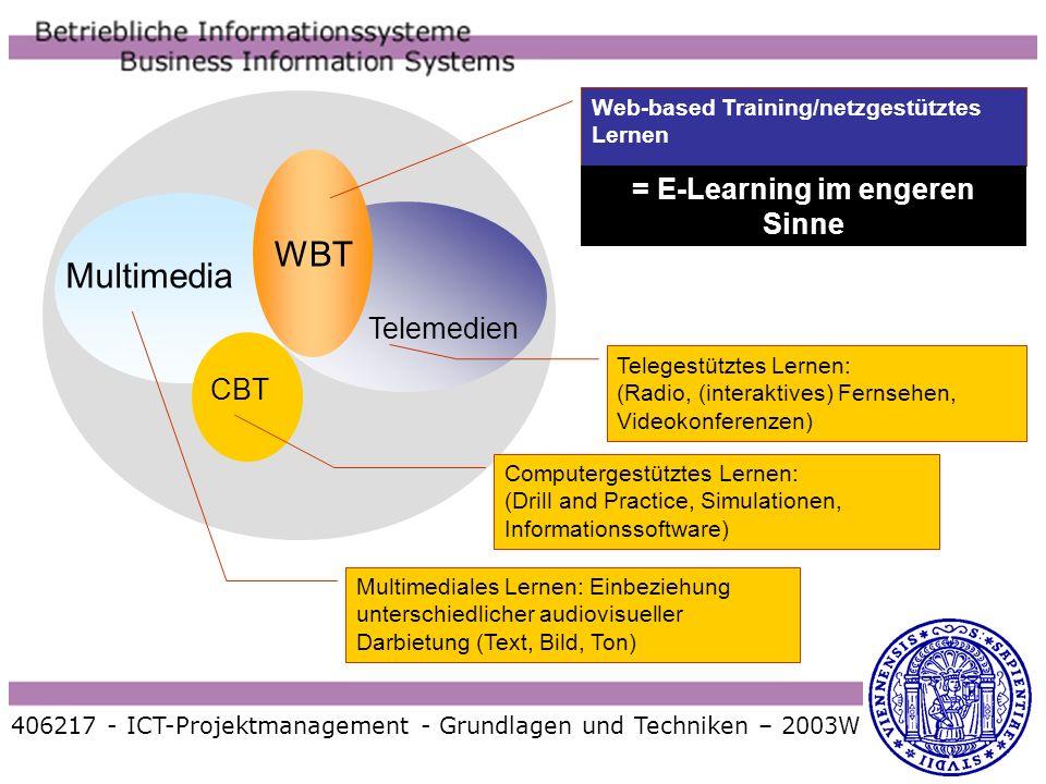 406217 - ICT-Projektmanagement - Grundlagen und Techniken – 2003W WBT Multimedia Telemedien Web-based Training/netzgestütztes Lernen Telegestütztes Le