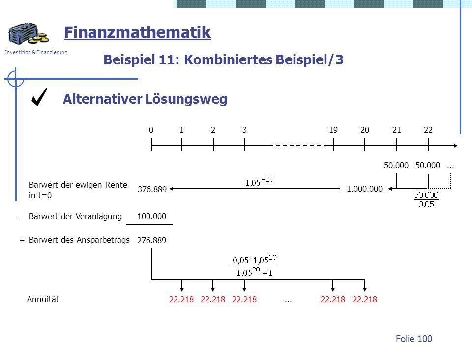 Investition & Finanzierung Folie 100 Alternativer Lösungsweg Beispiel 11: Kombiniertes Beispiel/3 Finanzmathematik 50.000 012320192122... 1.000.000 Ba