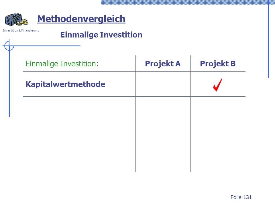 Investition & Finanzierung Folie 131 Einmalige Investition Methodenvergleich Kapitalwertmethode Projekt AProjekt BEinmalige Investition: