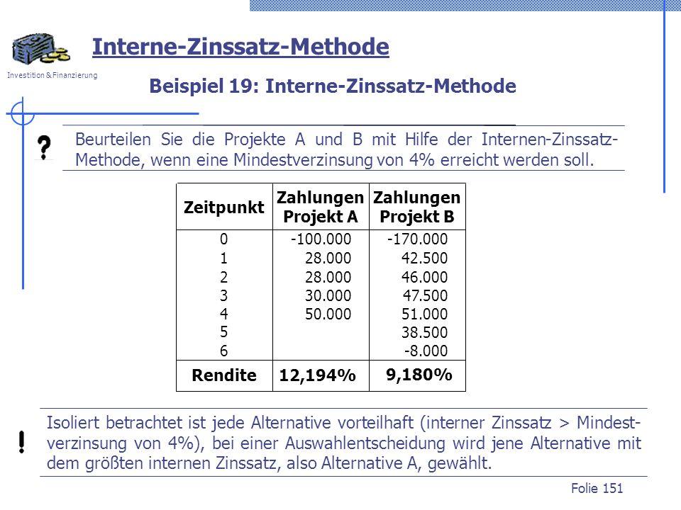 Investition & Finanzierung Folie 151 Isoliert betrachtet ist jede Alternative vorteilhaft (interner Zinssatz > Mindest- verzinsung von 4%), bei einer