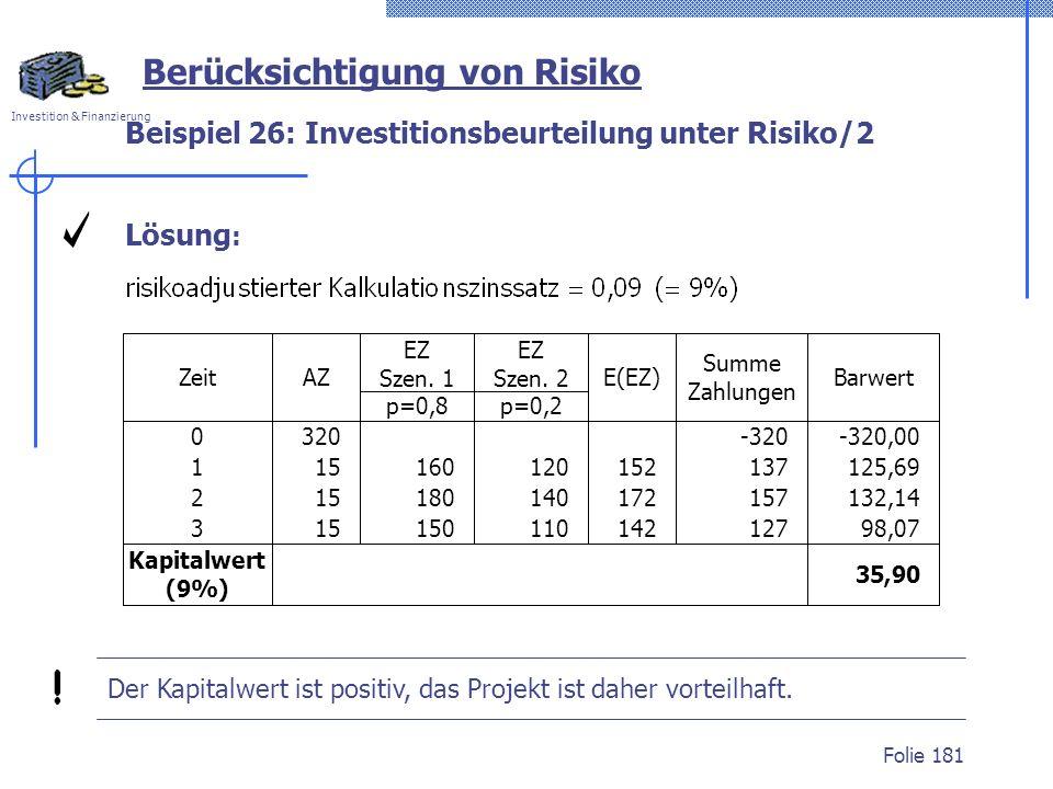 Investition & Finanzierung Folie 181 Berücksichtigung von Risiko Beispiel 26: Investitionsbeurteilung unter Risiko/2 Lösung : EZ Szen. 1 p=0,8 E(EZ) S