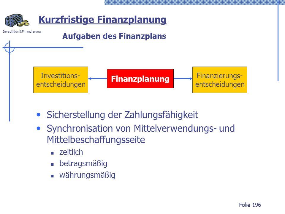 Investition & Finanzierung Folie 196 Investitions- entscheidungen Finanzierungs- entscheidungen Finanzplanung Kurzfristige Finanzplanung Aufgaben des