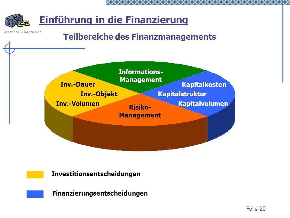 Investition & Finanzierung Folie 20 Teilbereiche des Finanzmanagements Einführung in die Finanzierung Investitionsentscheidungen Finanzierungsentschei
