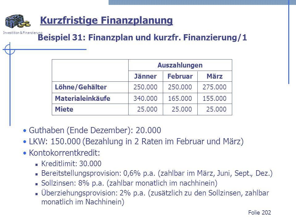 Investition & Finanzierung Folie 202 Beispiel 31: Finanzplan und kurzfr. Finanzierung/1 Guthaben (Ende Dezember): 20.000 LKW: 150.000 (Bezahlung in 2