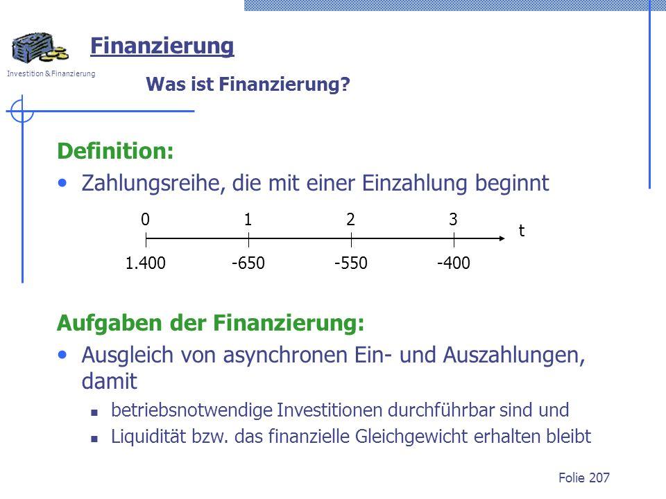 Investition & Finanzierung Folie 207 Was ist Finanzierung? Definition: Zahlungsreihe, die mit einer Einzahlung beginnt Finanzierung 0123 1.400-400-550