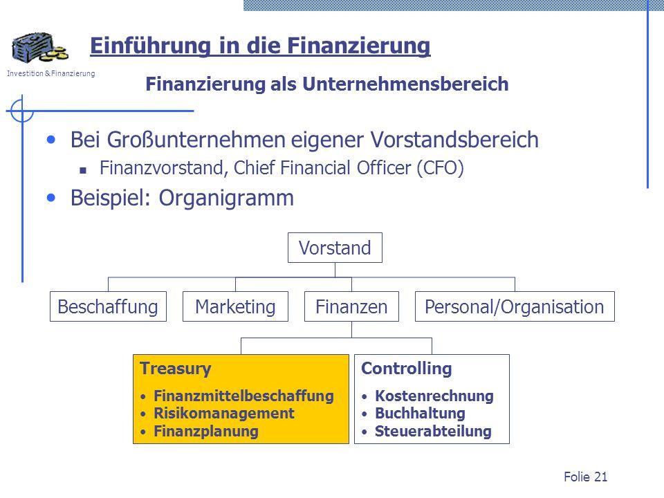 Investition & Finanzierung Folie 21 Finanzierung als Unternehmensbereich Bei Großunternehmen eigener Vorstandsbereich Finanzvorstand, Chief Financial