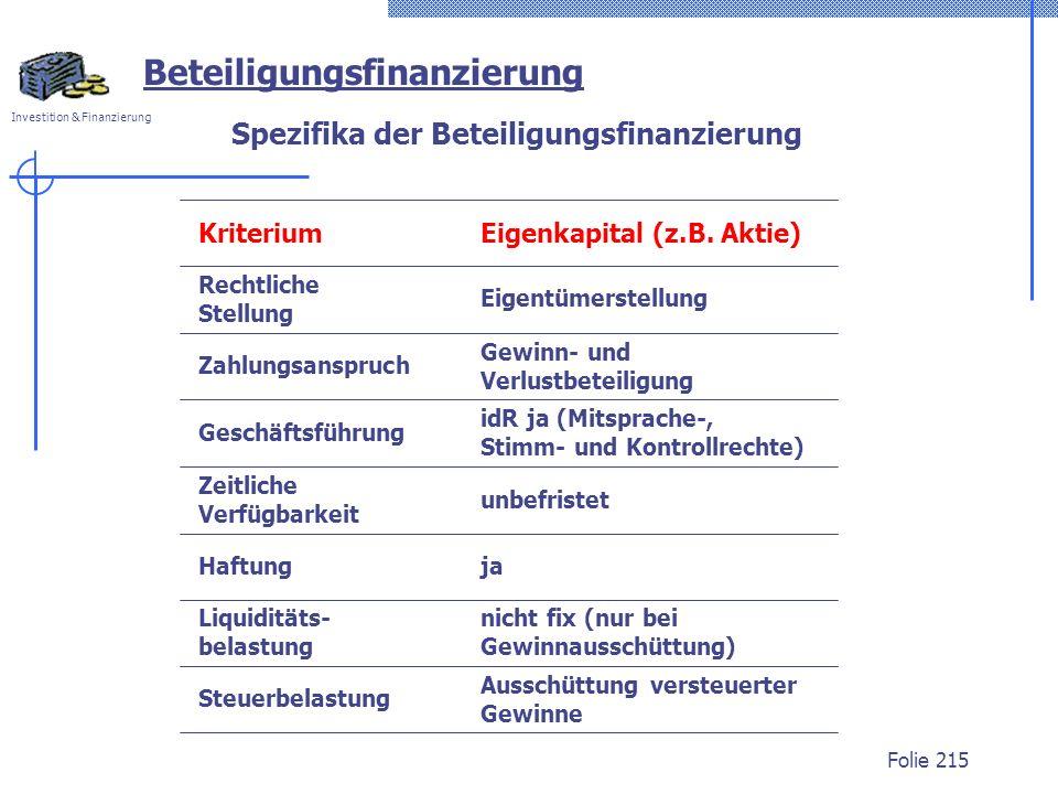 Investition & Finanzierung Folie 215 Beteiligungsfinanzierung Spezifika der Beteiligungsfinanzierung KriteriumEigenkapital (z.B. Aktie) Steuerbelastun