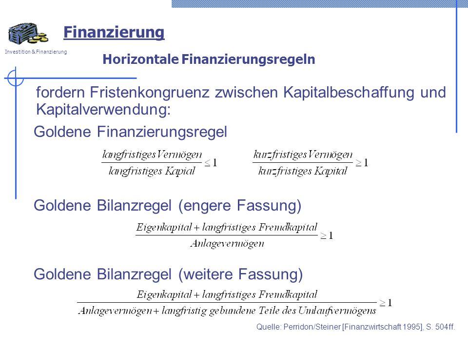 Investition & Finanzierung Horizontale Finanzierungsregeln fordern Fristenkongruenz zwischen Kapitalbeschaffung und Kapitalverwendung: Goldene Finanzi