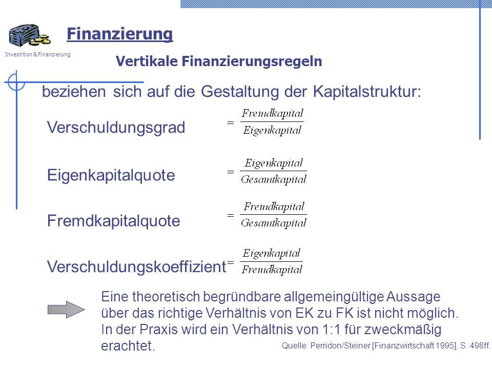 Investition & Finanzierung Vertikale Finanzierungsregeln beziehen sich auf die Gestaltung der Kapitalstruktur: Verschuldungsgrad Eigenkapitalquote Fre