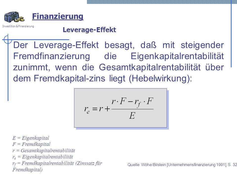 Investition & Finanzierung Leverage-Effekt Der Leverage-Effekt besagt, daß mit steigender Fremdfinanzierung die Eigenkapitalrentabilität zunimmt, wenn