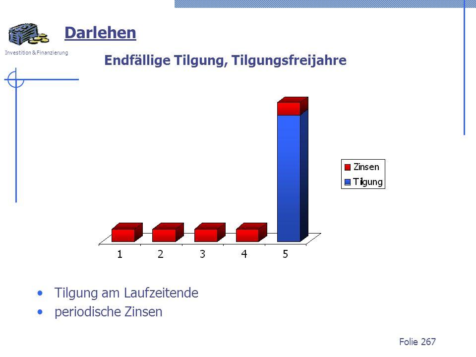 Investition & Finanzierung Folie 267 Endfällige Tilgung, Tilgungsfreijahre Tilgung am Laufzeitende periodische Zinsen Darlehen