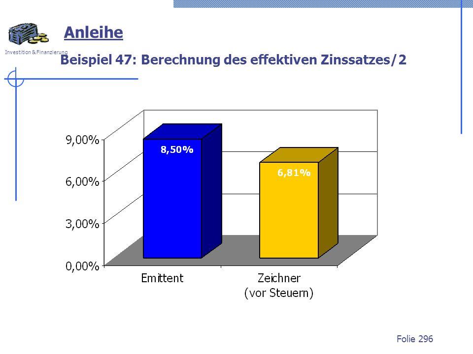 Investition & Finanzierung Folie 296 Anleihe Beispiel 47: Berechnung des effektiven Zinssatzes/2