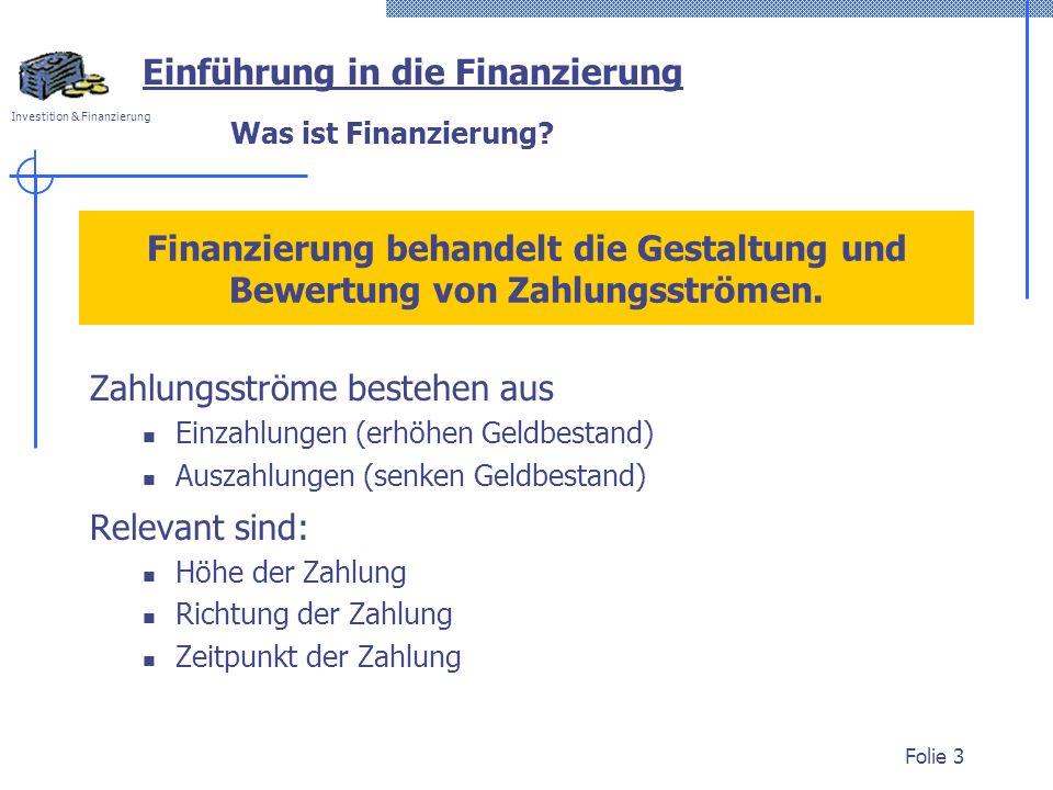 Investition & Finanzierung Folie 3 Was ist Finanzierung? Einführung in die Finanzierung Finanzierung behandelt die Gestaltung und Bewertung von Zahlun