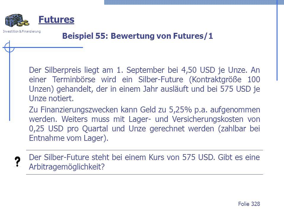 Investition & Finanzierung Folie 328 Beispiel 55: Bewertung von Futures/1 Futures Der Silberpreis liegt am 1. September bei 4,50 USD je Unze. An einer