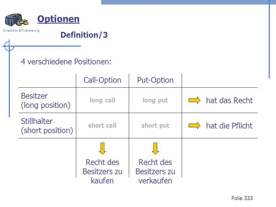 Investition & Finanzierung Folie 333 Definition/3 Optionen 4 verschiedene Positionen: Besitzer (long position) Stillhalter (short position) Call-Optio