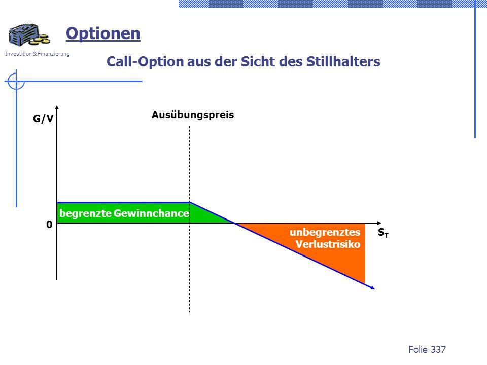 Investition & Finanzierung Folie 337 begrenzte Gewinnchance Optionen STST G/V Ausübungspreis Call-Option aus der Sicht des Stillhalters unbegrenztes V