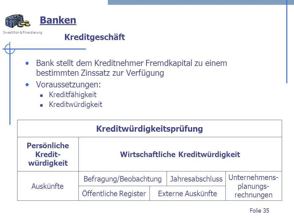 Investition & Finanzierung Folie 35 Jahresabschluss Unternehmens- planungs- rechnungen Befragung/Beobachtung Öffentliche Register Auskünfte Persönlich