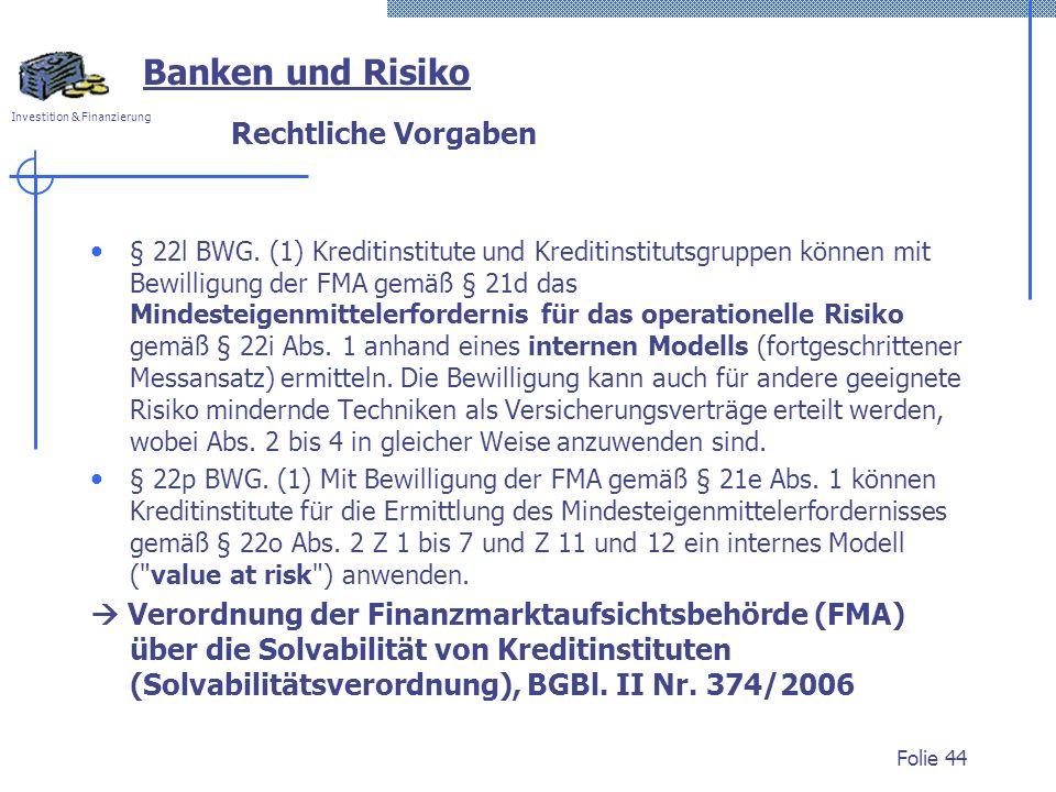 Investition & Finanzierung Rechtliche Vorgaben § 22l BWG. (1) Kreditinstitute und Kreditinstitutsgruppen können mit Bewilligung der FMA gemäß § 21d da