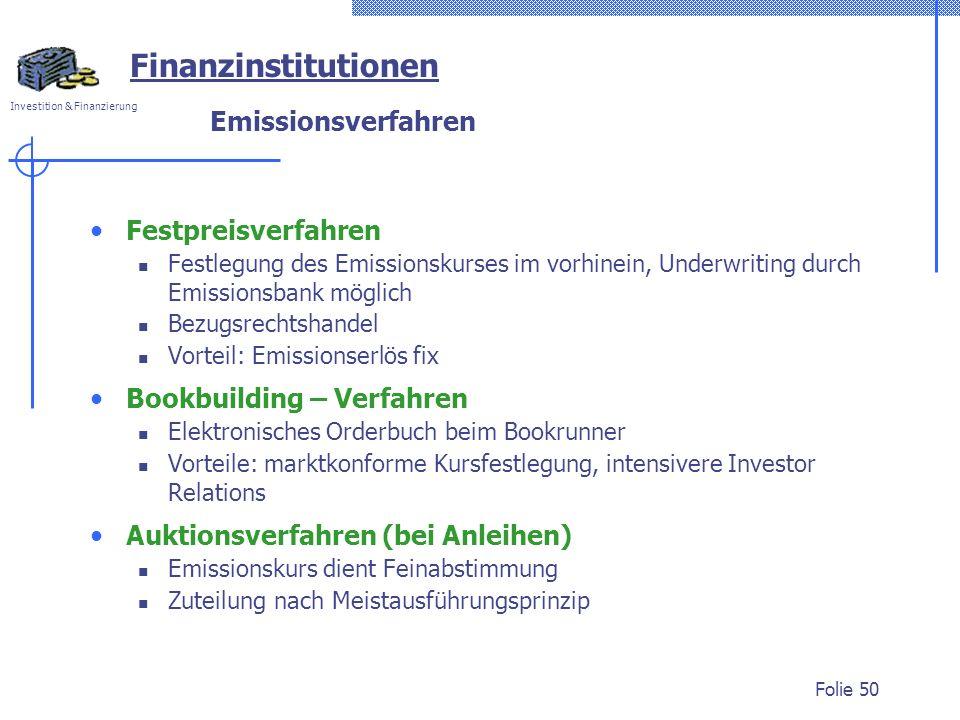 Investition & Finanzierung Folie 50 Festpreisverfahren Festlegung des Emissionskurses im vorhinein, Underwriting durch Emissionsbank möglich Bezugsrec