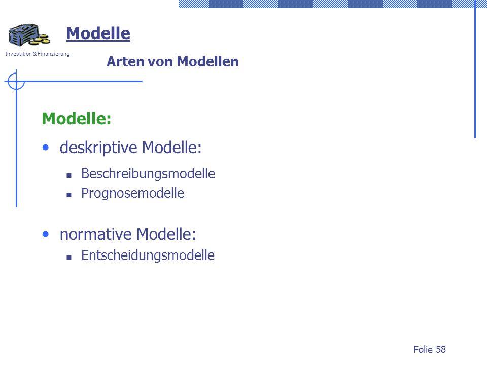 Investition & Finanzierung Folie 58 Modelle Arten von Modellen Modelle: deskriptive Modelle: Beschreibungsmodelle Prognosemodelle normative Modelle: E