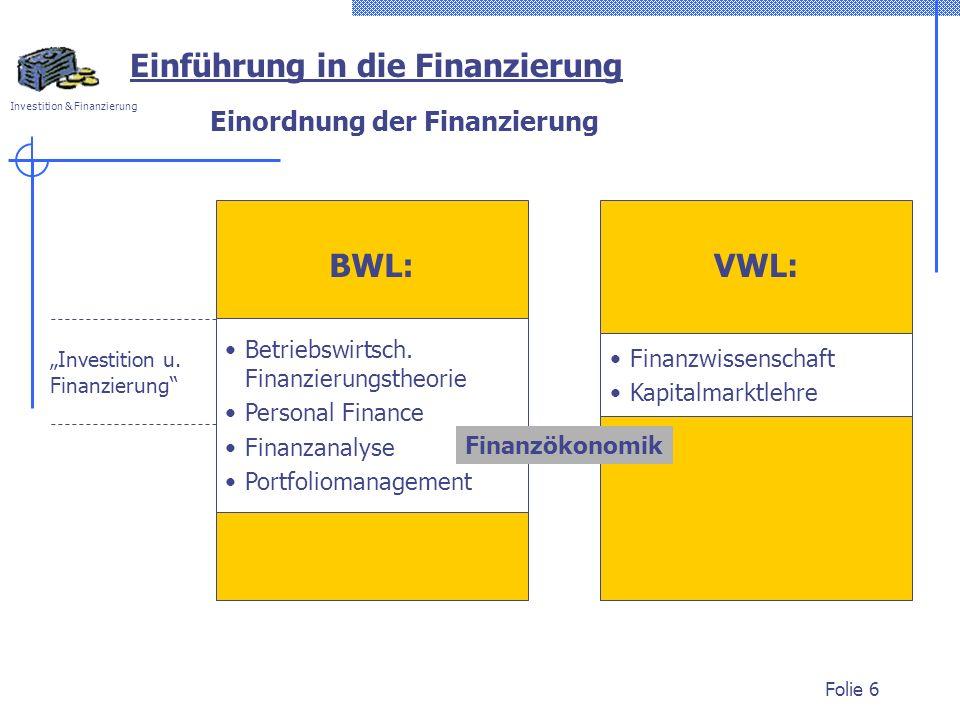 Investition & Finanzierung Folie 6 Investition u. Finanzierung Einordnung der Finanzierung Einführung in die Finanzierung Betriebswirtsch. Finanzierun