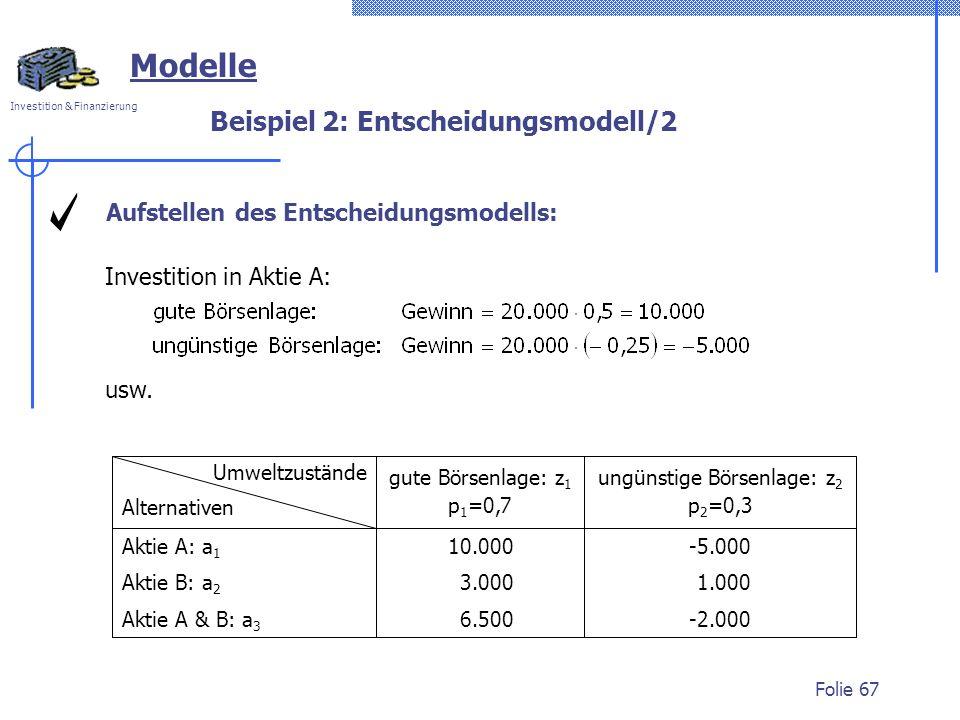 Investition & Finanzierung Folie 67 Modelle Beispiel 2: Entscheidungsmodell/2 Investition in Aktie A: usw. Umweltzustände Alternativen gute Börsenlage