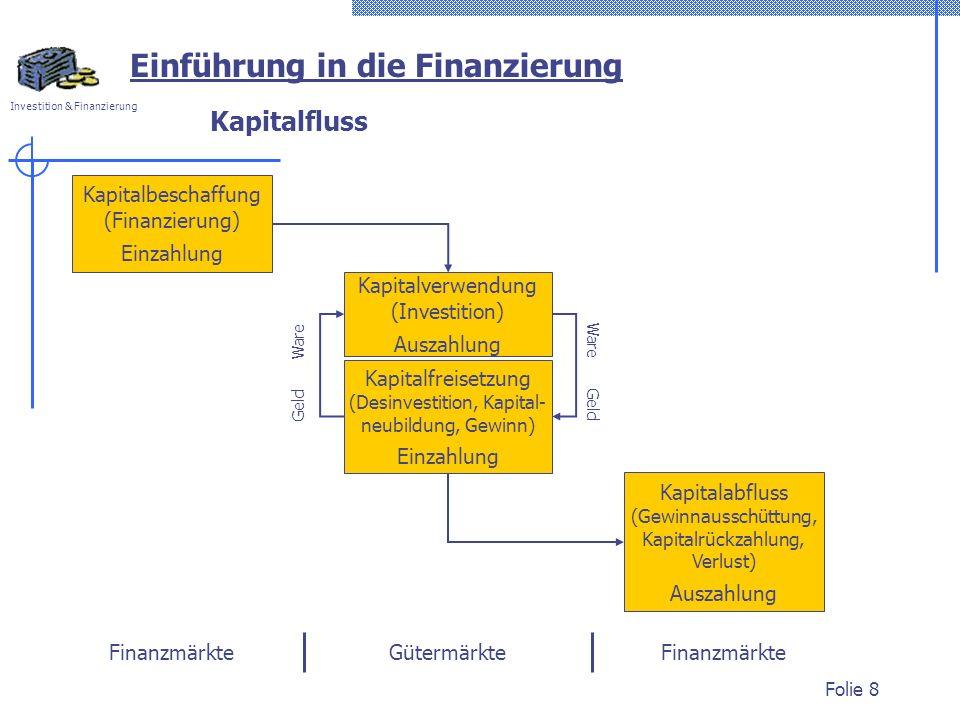 Investition & Finanzierung Folie 8 Kapitalfluss Kapitalabfluss (Gewinnausschüttung, Kapitalrückzahlung, Verlust) Auszahlung Einführung in die Finanzie