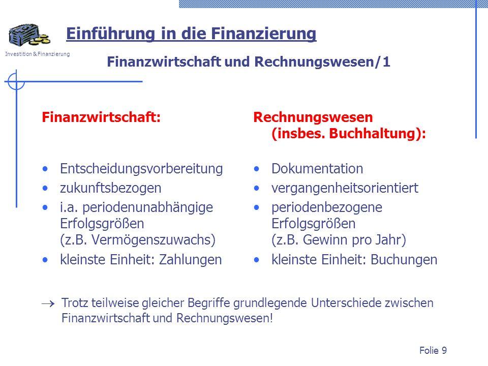 Investition & Finanzierung Folie 9 Finanzwirtschaft und Rechnungswesen/1 Einführung in die Finanzierung Finanzwirtschaft: Entscheidungsvorbereitung zu