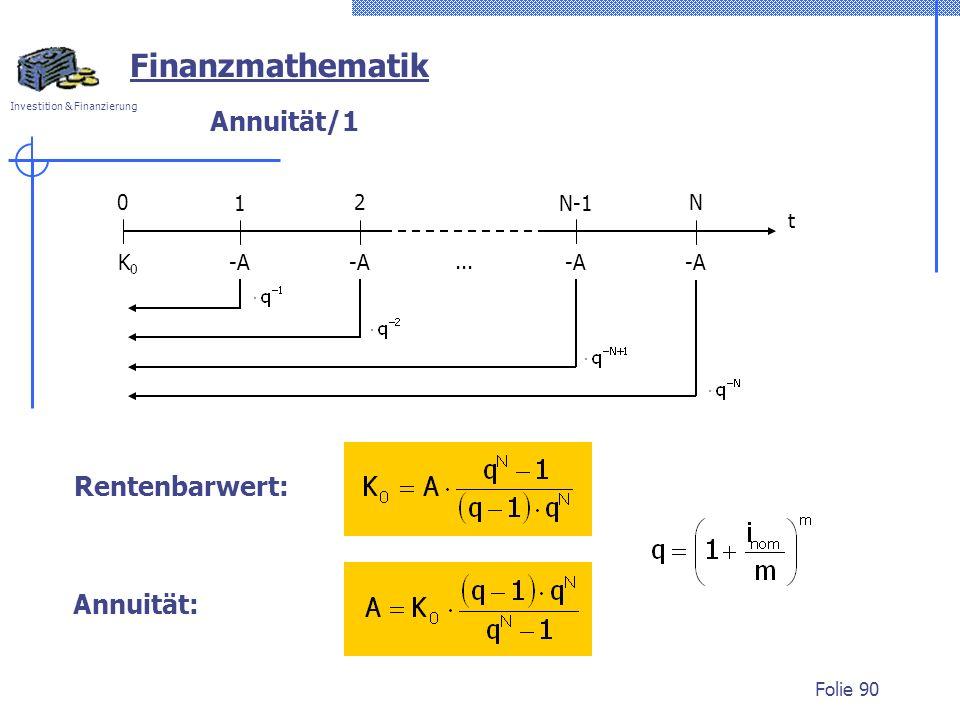 Investition & Finanzierung Folie 90 Finanzmathematik Annuität/1 0 1 2 t N-1 N -A K0K0... Annuität: Rentenbarwert: