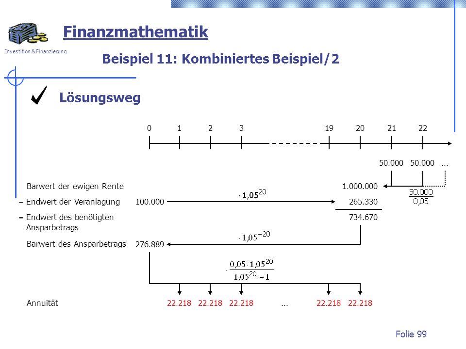 Investition & Finanzierung Folie 99 Lösungsweg Beispiel 11: Kombiniertes Beispiel/2 Finanzmathematik 50.000 012320192122... 1.000.000 Barwert der ewig