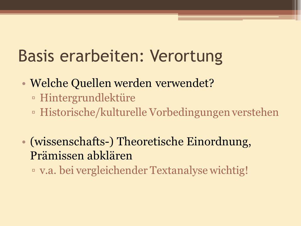 Basis erarbeiten: Verortung Welche Quellen werden verwendet? Hintergrundlektüre Historische/kulturelle Vorbedingungen verstehen (wissenschafts-) Theor