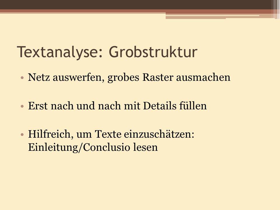 Textanalyse: Grobstruktur Netz auswerfen, grobes Raster ausmachen Erst nach und nach mit Details füllen Hilfreich, um Texte einzuschätzen: Einleitung/