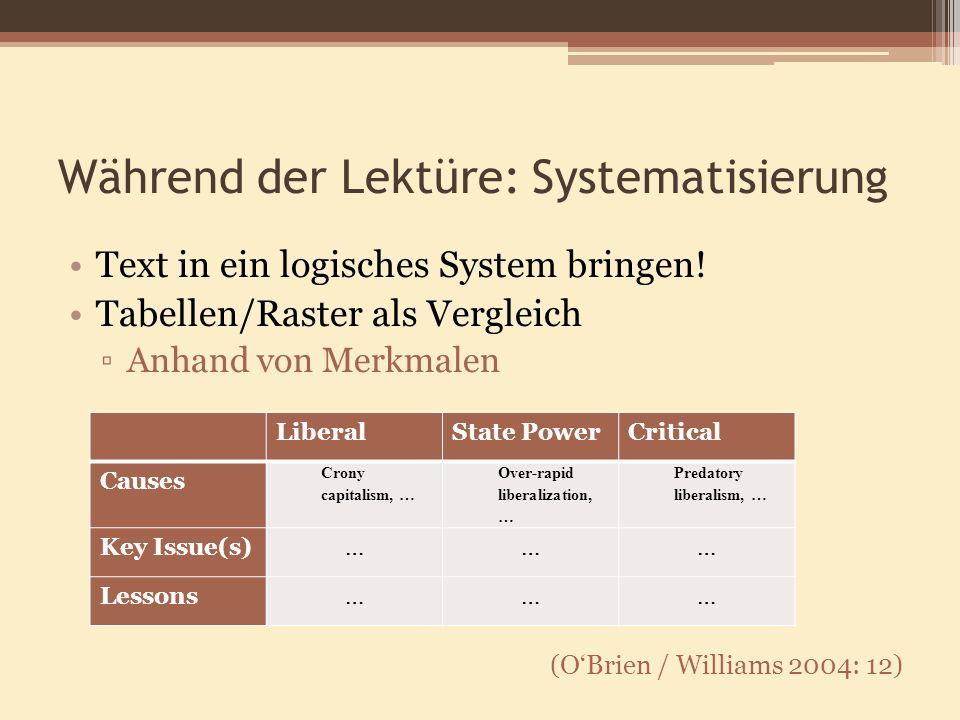 Während der Lektüre: Systematisierung Text in ein logisches System bringen! Tabellen/Raster als Vergleich Anhand von Merkmalen (OBrien / Williams 2004