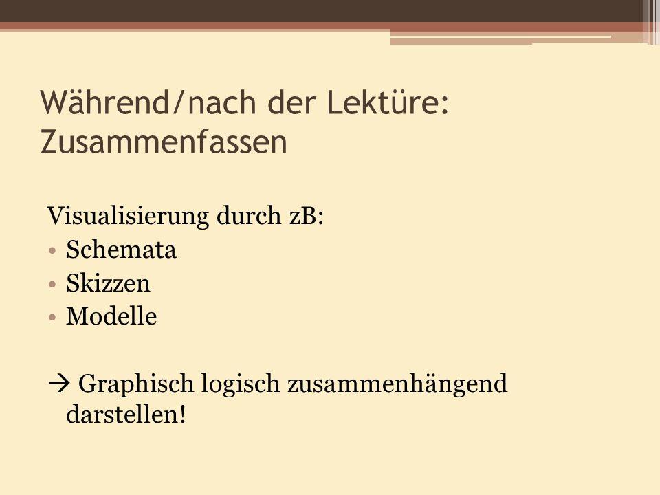 Während/nach der Lektüre: Zusammenfassen Visualisierung durch zB: Schemata Skizzen Modelle Graphisch logisch zusammenhängend darstellen!