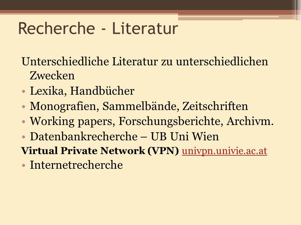 Recherche - Literatur Unterschiedliche Literatur zu unterschiedlichen Zwecken Lexika, Handbücher Monografien, Sammelbände, Zeitschriften Working paper