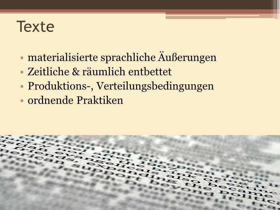 Texte materialisierte sprachliche Äußerungen Zeitliche & räumlich entbettet Produktions-, Verteilungsbedingungen ordnende Praktiken