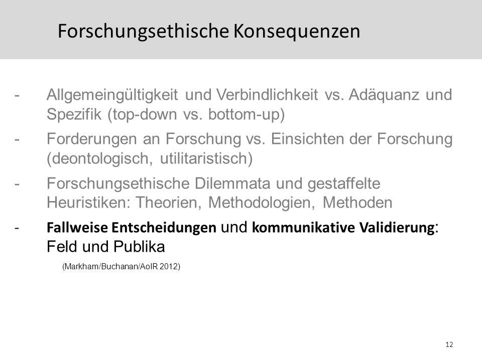 Forschungsethische Konsequenzen -Allgemeingültigkeit und Verbindlichkeit vs. Adäquanz und Spezifik (top-down vs. bottom-up) -Forderungen an Forschung