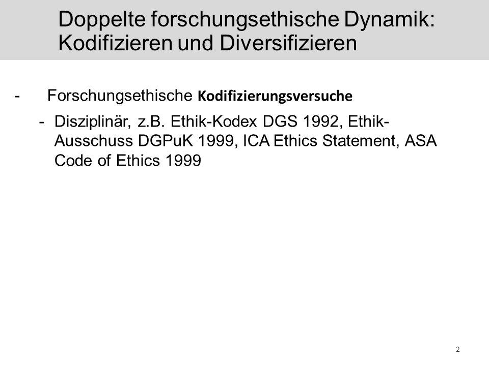 Doppelte forschungsethische Dynamik: Kodifizieren und Diversifizieren -Forschungsethische Kodifizierungsversuche -Disziplinär, z.B. Ethik-Kodex DGS 19