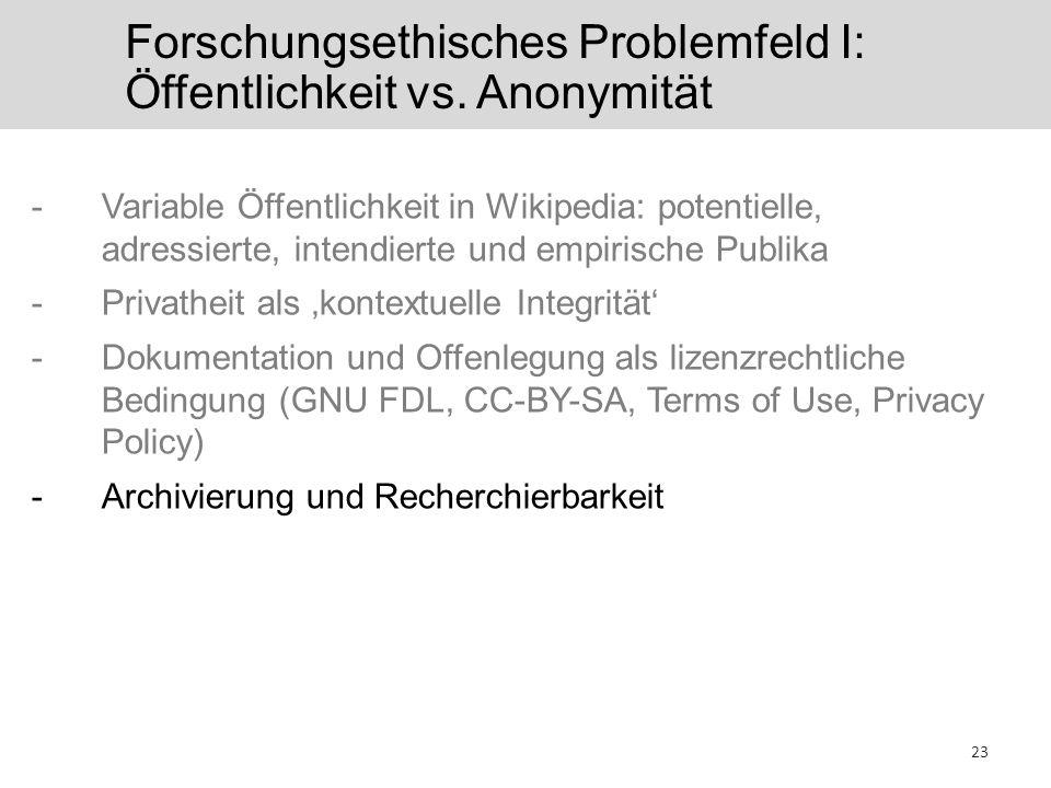 Forschungsethisches Problemfeld I: Öffentlichkeit vs. Anonymität -Variable Öffentlichkeit in Wikipedia: potentielle, adressierte, intendierte und empi