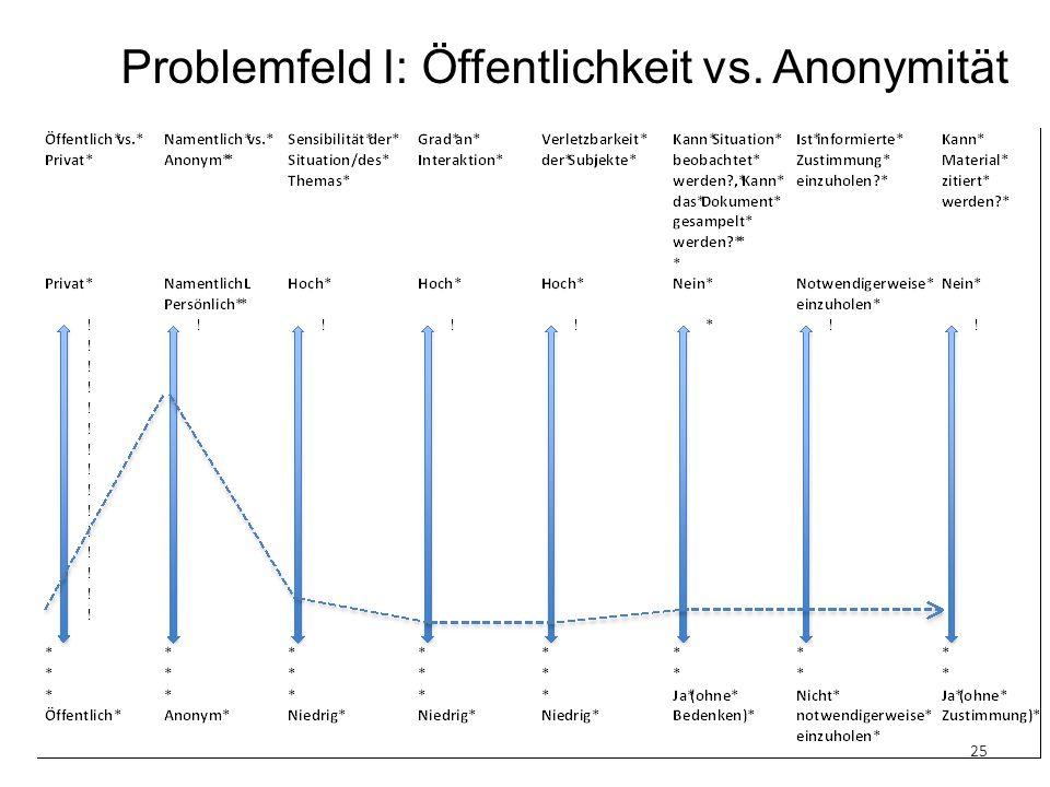 25 Problemfeld I: Öffentlichkeit vs. Anonymität