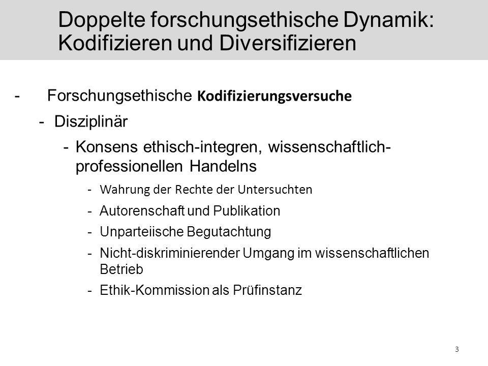 Doppelte forschungsethische Dynamik: Kodifizieren und Diversifizieren -Forschungsethische Kodifizierungsversuche -Disziplinär -Konsens ethisch-integren, wissenschaftlich- professionellen Handelns -Wahrung der Rechte der Untersuchten -Autorenschaft und Publikation -Unparteiische Begutachtung -Nicht-diskriminierender Umgang im wissenschaftlichen Betrieb -Ethik-Kommission als Prüfinstanz 3