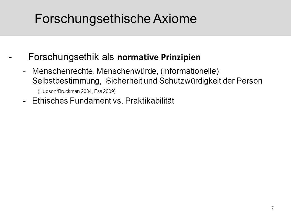 Forschungsethische Axiome -Forschungsethik als normative Prinzipien -Menschenrechte, Menschenwürde, (informationelle) Selbstbestimmung, Sicherheit und Schutzwürdigkeit der Person (Hudson/Bruckman 2004, Ess 2009) -Ethisches Fundament vs.