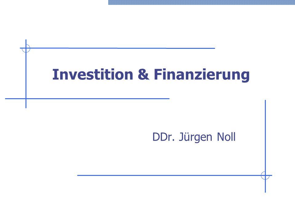 Investition & Finanzierung Folie 182 Beispiel 30: Liquidationsspektrum/1 Aus der Vergangenheit ist bekannt, dass 70% der Umsätze im selben Monat, 20% im nächsten und 8% im zweitfolgenden Monat zu einer Einzahlung werden.